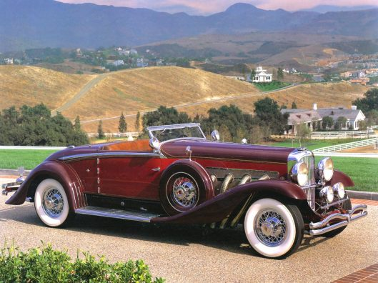 1932-Duesenberg-Model-SJ-Convertible-by-Walker-Grande-Red-Maroon-fsvr