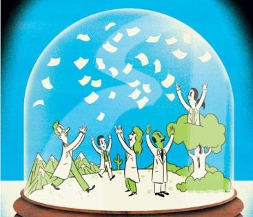 scientists papers snowglobe