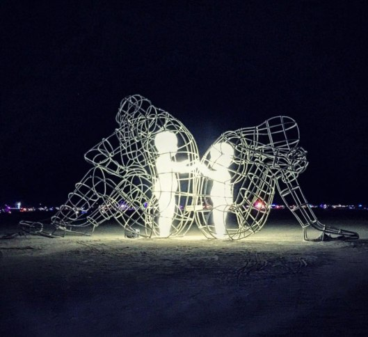 'Love,' by Ukrainian sculptor Alexander Milov, Burning Man festival, Nevada, 2015